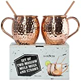 D&F Kitchen Pro Moscow Mule Mugs With Two Straws - Each Cup 1/2 Pound In ...